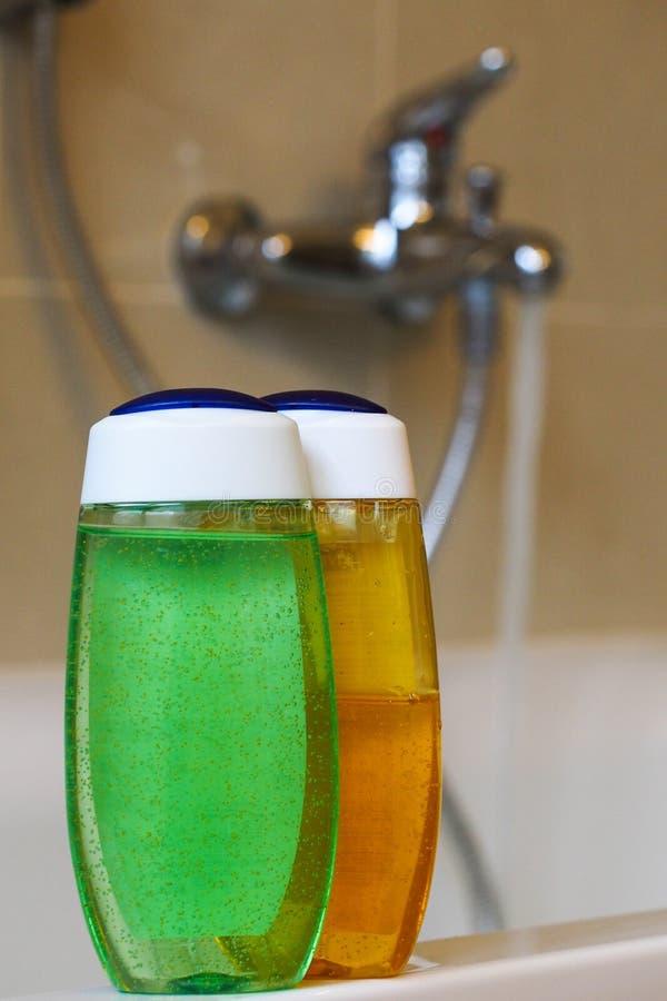 Shower Gel And Bathtub Stock Photos
