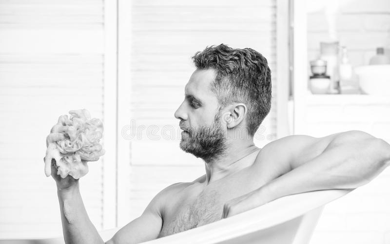 Shower gel for men. Personal hygiene. Take care hygiene. Cleaning parts body. Hygiene concept. Bath have greater effect royalty free stock photo