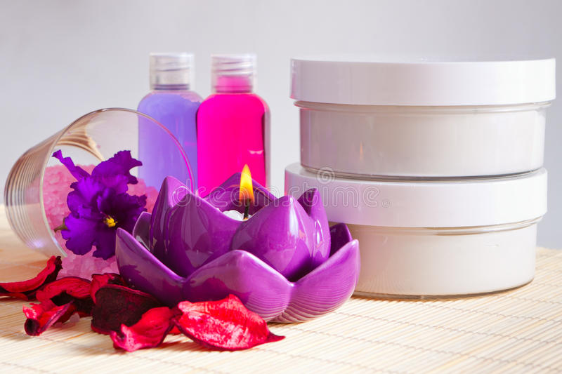 Shower gels and body care creams. Moisturizing shower gels and body care creams stock image