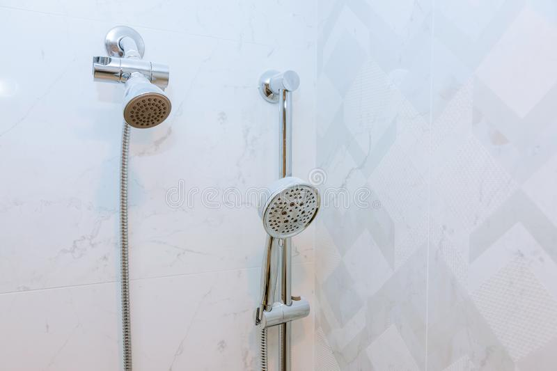 Shower head cubicle in the modern bathroom royalty free stock photos