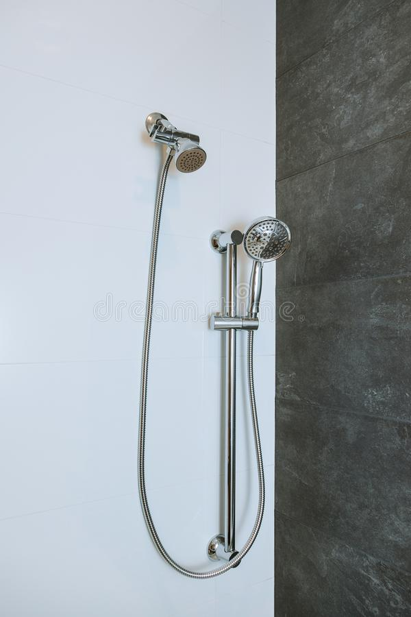 Shower head in private bathroom stock photography
