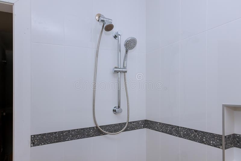 Shower head in private bathroom stock photo