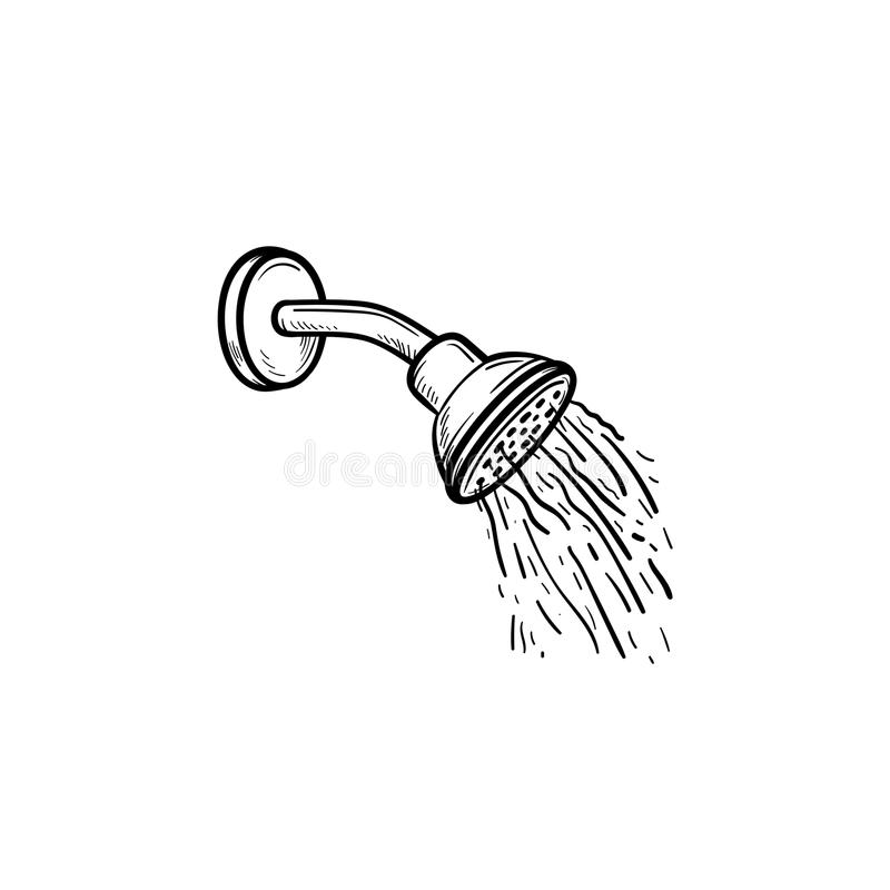 Shower head with water drops hand drawn outline doodle icon. royalty free illustration