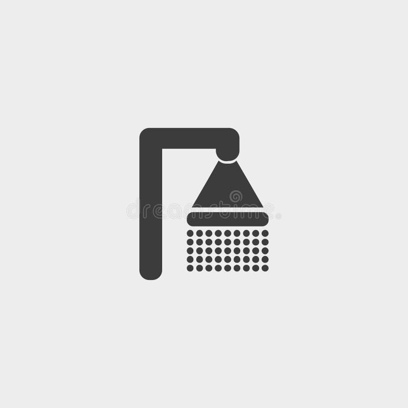 Shower icon in a flat design in black color. Vector illustration eps10 stock illustration