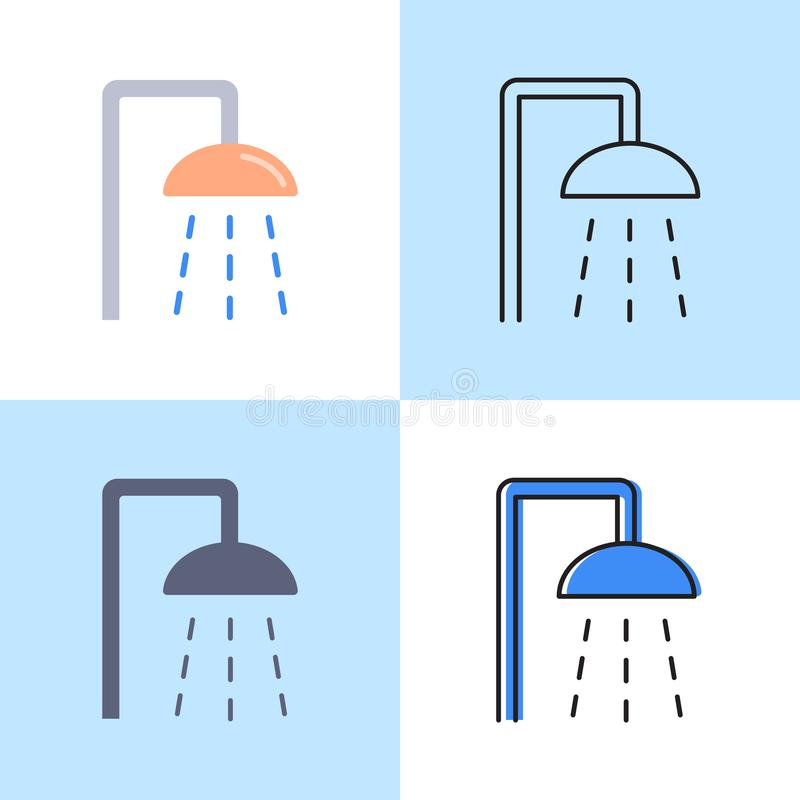 Shower icon set in flat and line style royalty free illustration