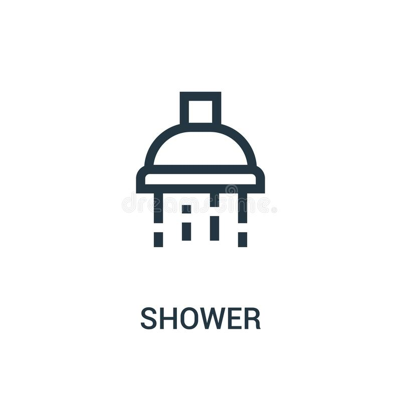 shower icon vector from gym collection. Thin line shower outline icon vector illustration vector illustration