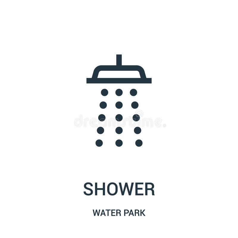 shower icon vector from water park collection. Thin line shower outline icon vector illustration. Linear symbol for use on web and royalty free illustration
