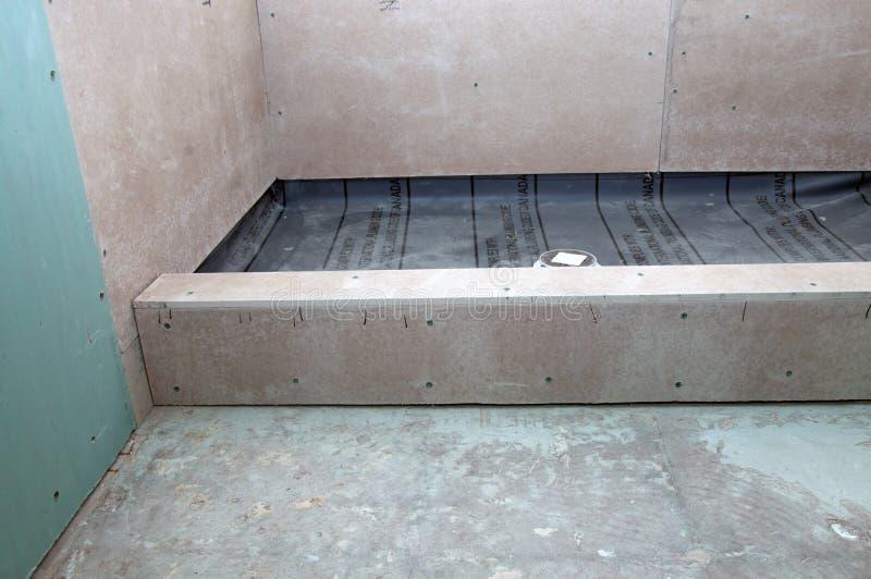 Shower Renovation - Shower Pan stock photos