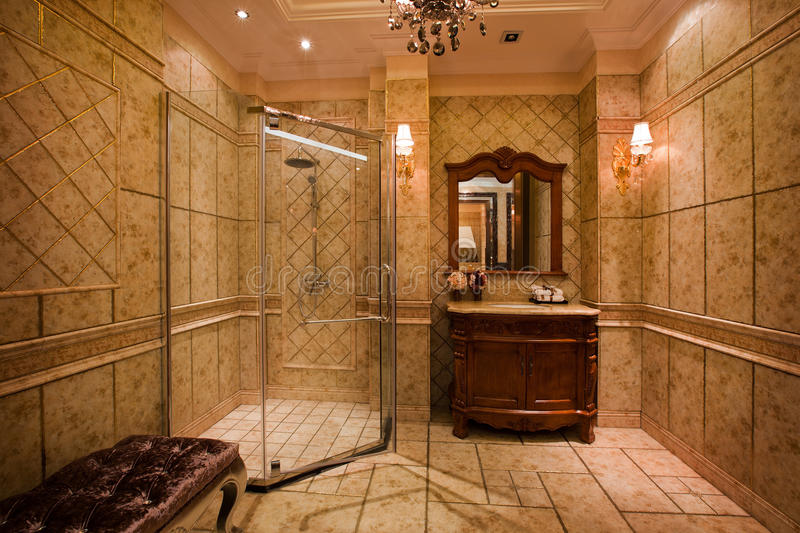 The shower room. The changing of family decoration to the hotel style, shown in the picture is a shower room of Chinese villa royalty free stock photos