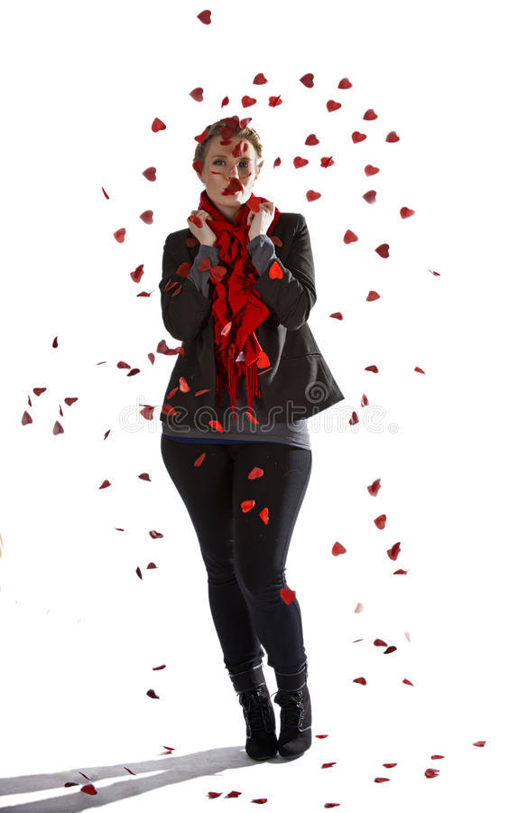 Download Shower of rose petals stock photo. Image of blonde, heart - 28674286