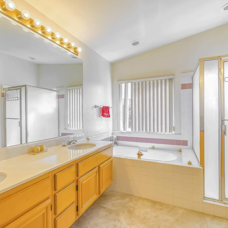 Shower stall built in bathtub and vanity with double sink inside a bathroom. Square Shower stall built in bathtub and vanity with double sink inside a bathroom stock photos