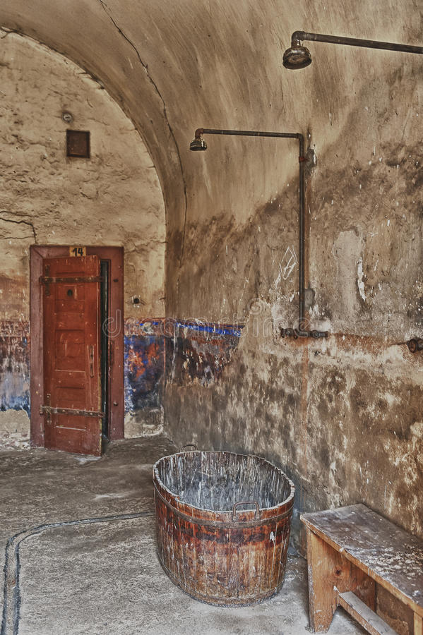 Terezin War Memorial. Bathroom in the prison of National Memorial Cemetery  Terezin. Memorial to the Holocaust. Small fortress, Terezin, Czech Republic. Part of stock images