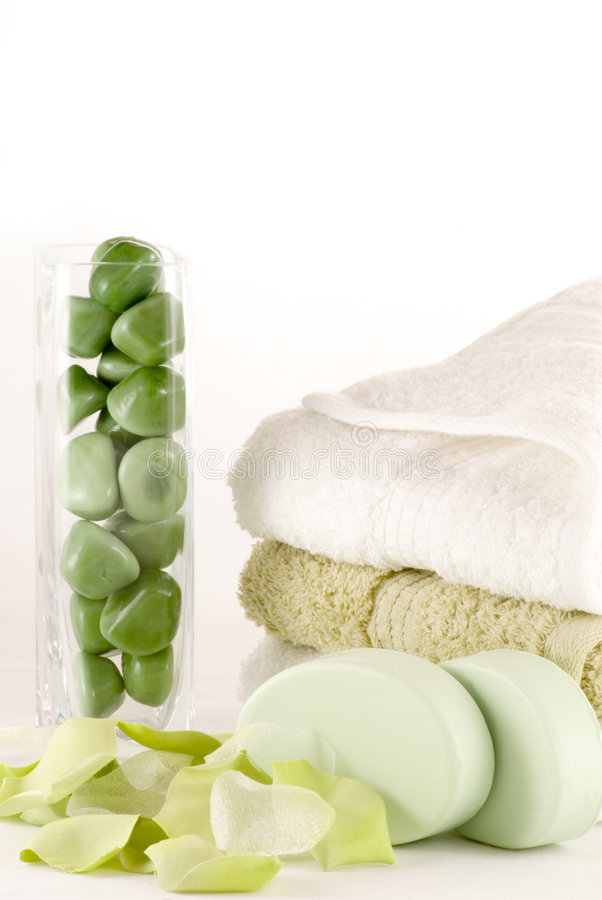 Shower Time. Simple spa, bath or shower collection in green and white royalty free stock images