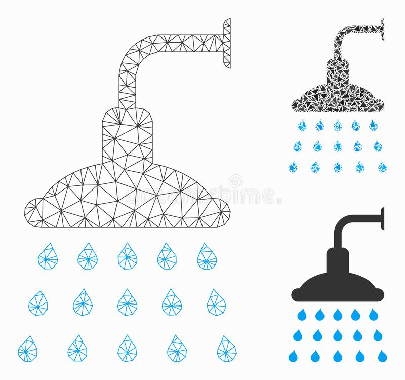 Shower Vector Mesh Carcass Model and Triangle Mosaic Icon. Mesh shower model with triangle mosaic icon. Wire carcass polygonal mesh of shower. Vector collage of stock illustration