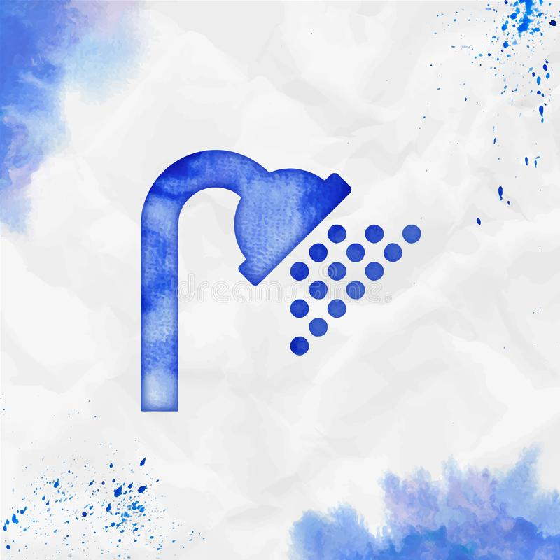 Shower watercolor icon. Beauteous hand drawn style symbol. Neat watercolor symbol. Modern design for infographics or presentation stock illustration