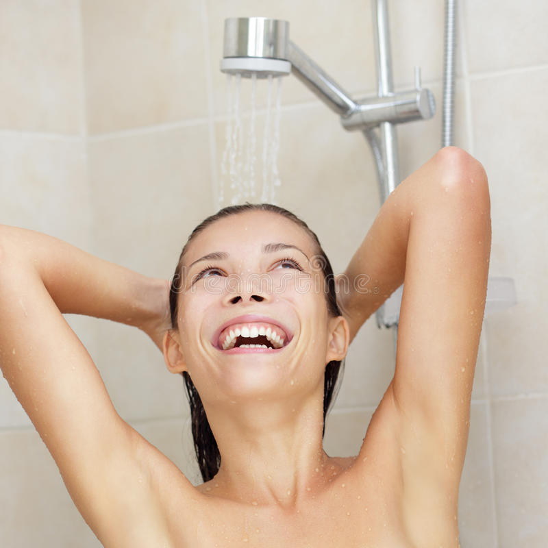 Shower woman happy royalty free stock image