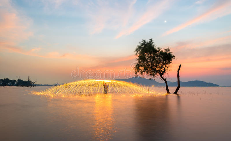 Download Showers Of Hot Glowing Sparks From Spinning Steel Wool Stock Photo - Image of image, background: 90782574