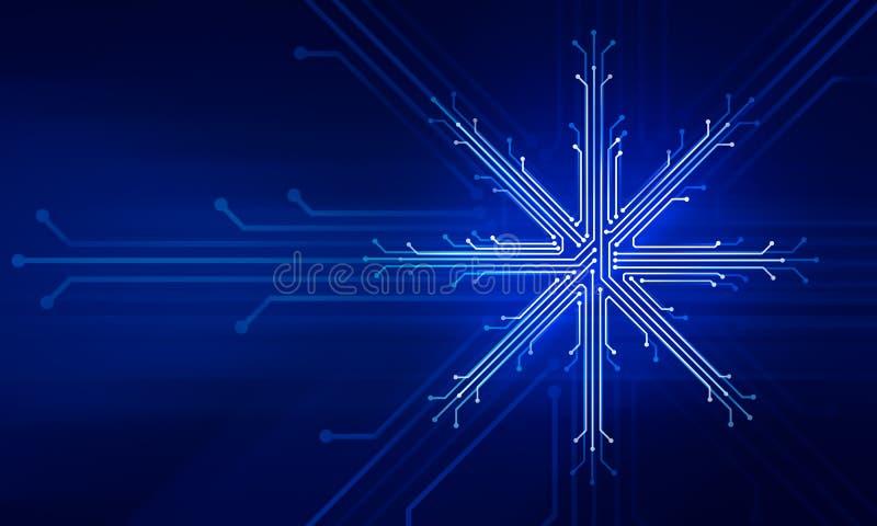 Showflake nowego roku bożych narodzeń technologii pojęcie royalty ilustracja