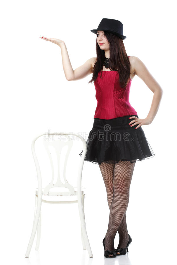 Showgirl Woman Dance In Red Corset Chair Isolated Royalty Free Stock Images