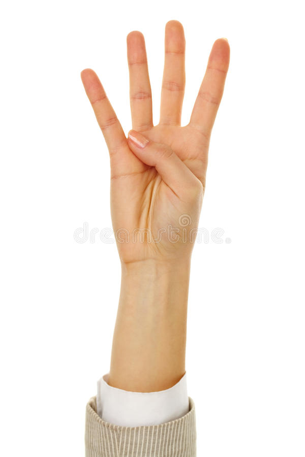 Download Showing four fingers stock photo. Image of signal, communication - 24739362