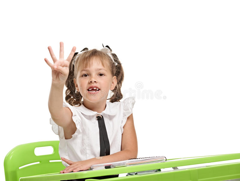 Showing four fingers stock photo