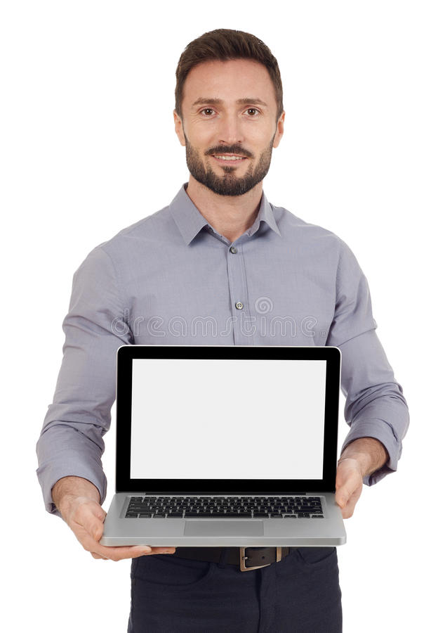 Showing a laptop screen. Cheerful man with a laptop, white background royalty free stock photography