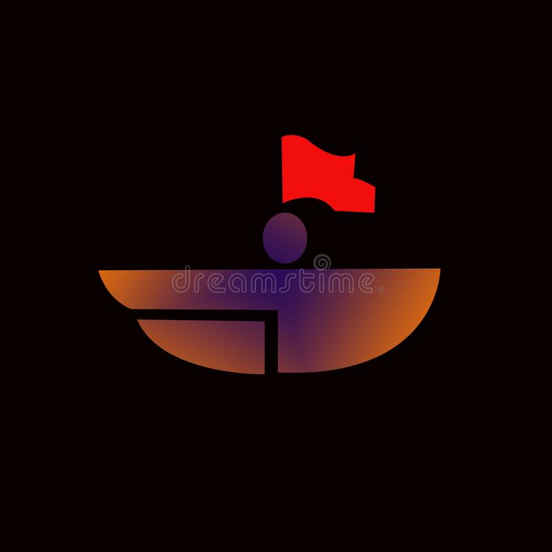 boat logo, with red flags royalty free illustration