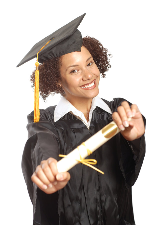 Showing off her diploma royalty free stock photo
