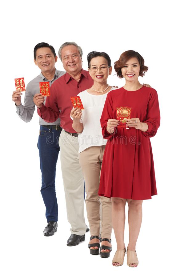 Showing Tet greeting cards stock images