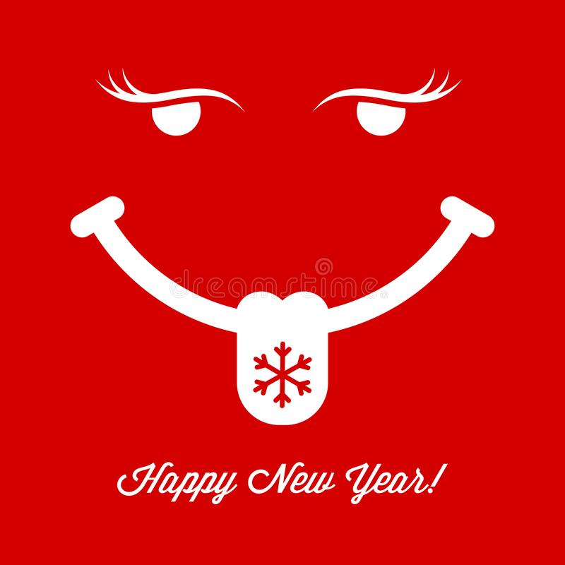 Showing Tongue Smiling Face on Red Background. Christmas and New Year Greeting Card Cover. Vector Illustration royalty free illustration