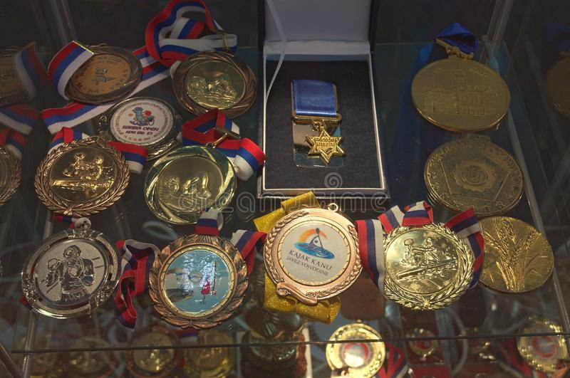 Showing of various medals dedicated to Novi Sad, Serbia.  royalty free stock image