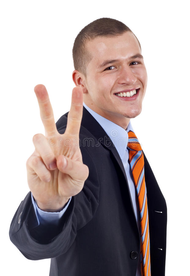Showing Victory sign stock image