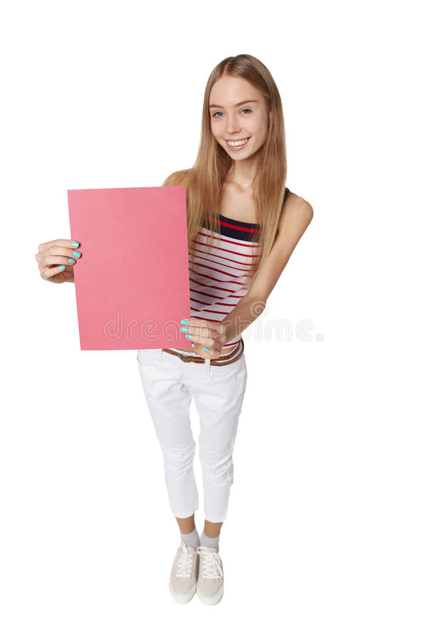 Showing woman holding blank sign placard billboard with copy spa royalty free stock photo