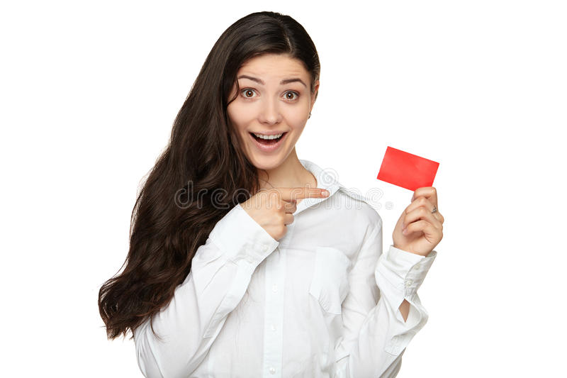 Showing woman presenting blank gift card sign royalty free stock photo