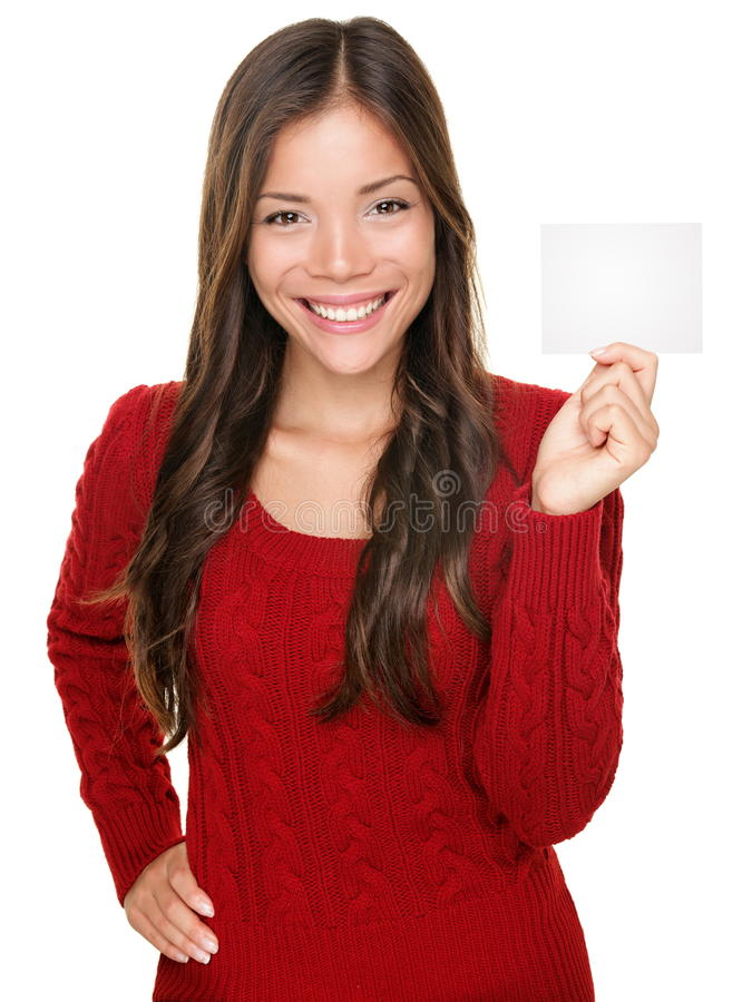 Download Showing Woman Presenting Gift Card Stock Image - Image of female, blank: 21641077