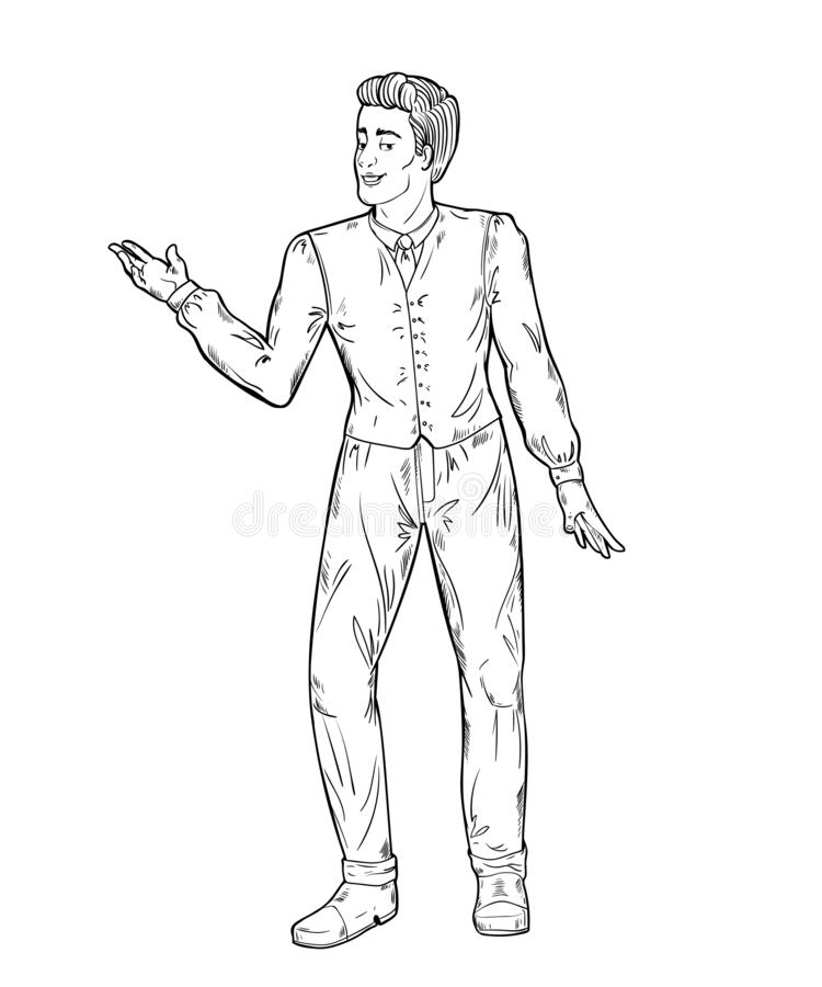 Showman. Portrait full length. Smiling young male entertainer, presenter or actor. Black and white vector illustration stock illustration