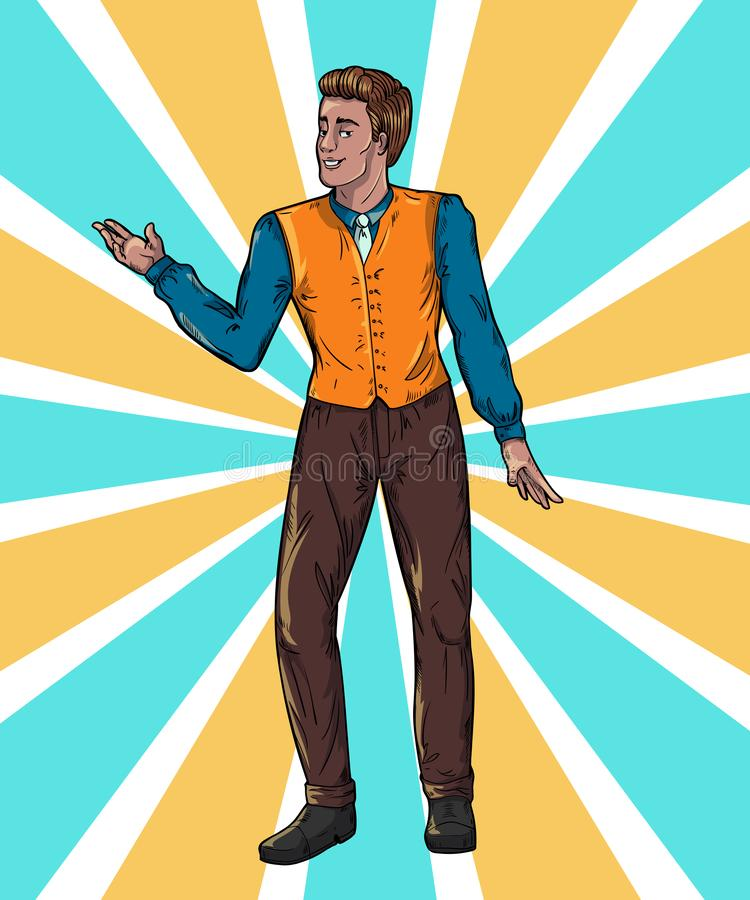 Showman on rays background Portrait full length. Smiling young male entertainer, presenter or actor. Vector illustration royalty free illustration