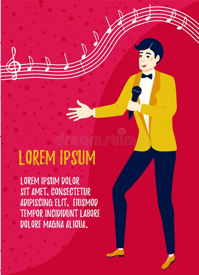 Showman or singer with a microphone. Event Management and Party Organization. Poster design template. Showman or singer with a microphone. Event and Party vector illustration