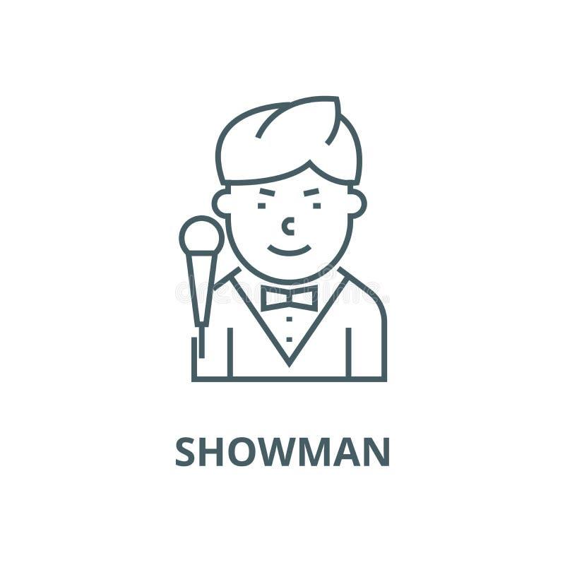 Showman wektoru linii ikona, liniowy pojęcie, konturu znak, symbol ilustracji