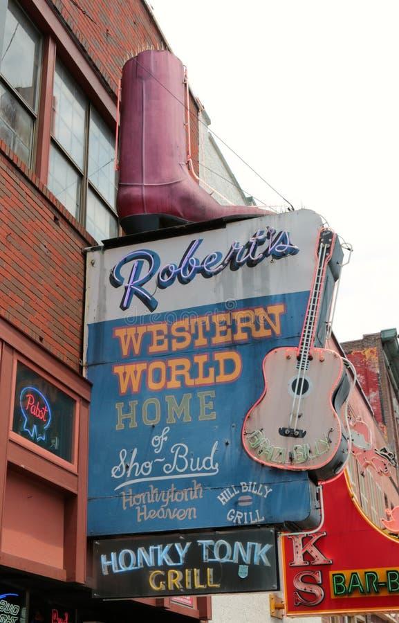 Showplace de Tonk del Honky del mundo occidental de Roberto, Nashville Tennessee fotografía de archivo