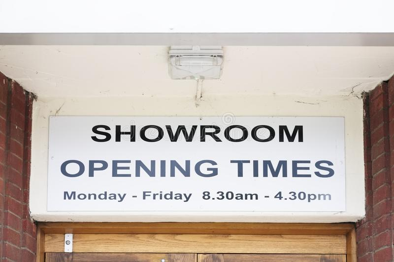 Showroom opening times Monday to Friday sign. Uk royalty free stock images