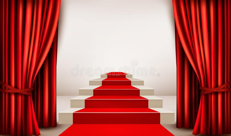 Showroom with red carpet leading to a podium with curtains. Vector royalty free illustration