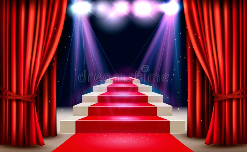 Showroom with red carpet leading to a podium and a spotlight. Festival night show background. Vector stock illustration