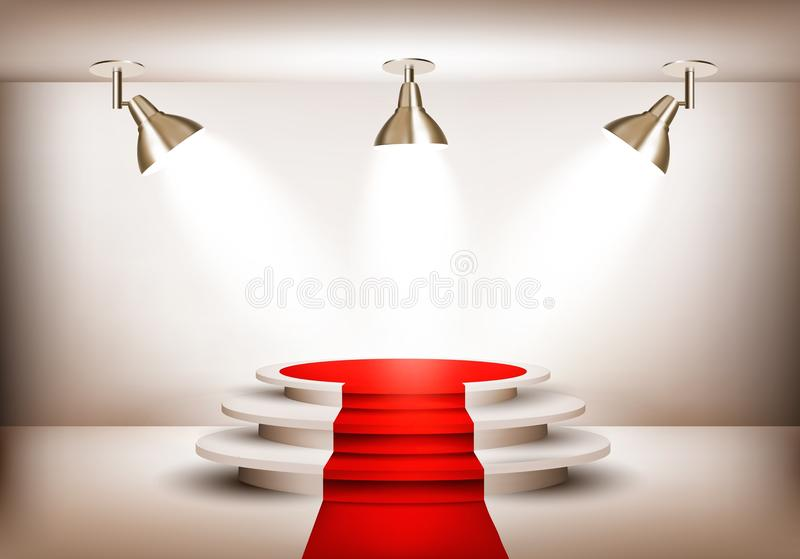Showroom with red carpet leading to a podium and three lights. Vector vector illustration
