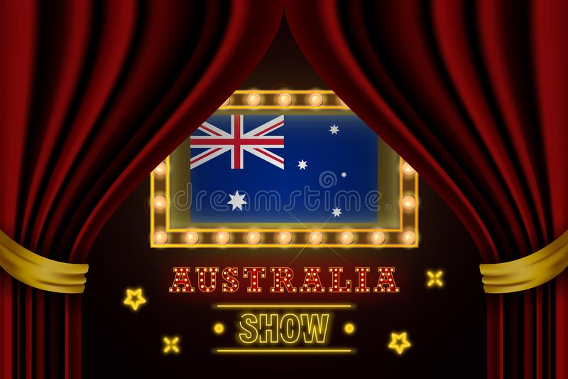Showtidbräde för kapacitet, bio, underhållning, roulett, poker av den Australien landshändelsen Skinande tappning för ljuskulor a stock illustrationer