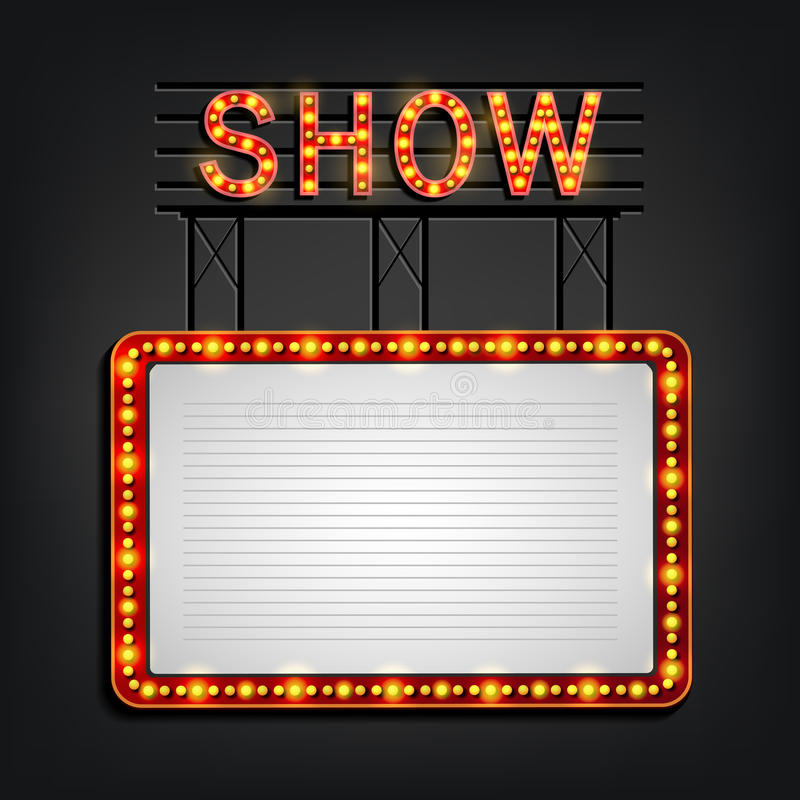 Showtime signboard retro style with light frame vector illustration