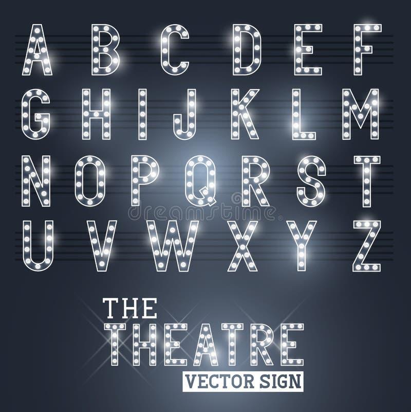 Showtime teatertecken och alfabet royaltyfri illustrationer