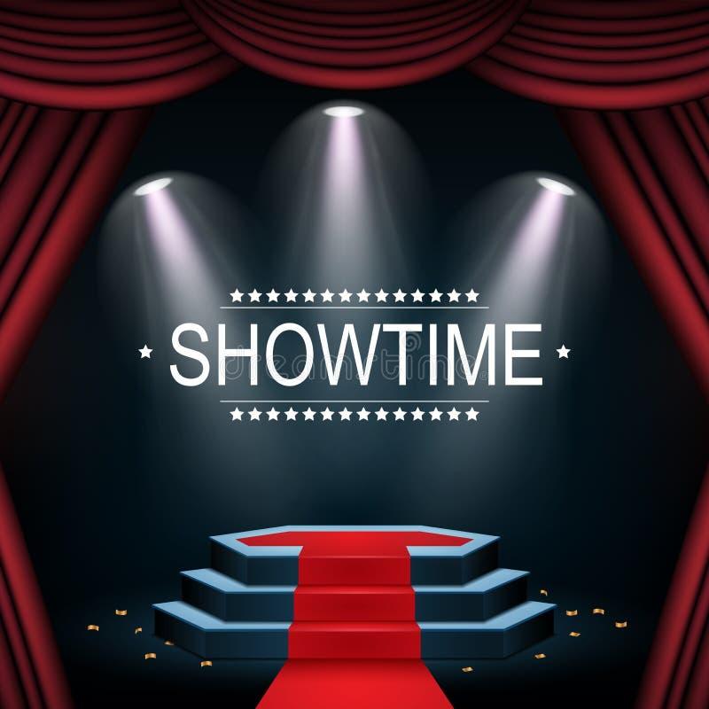 Showtimebanner met podium en gordijn door schijnwerpers wordt verlicht die vector illustratie