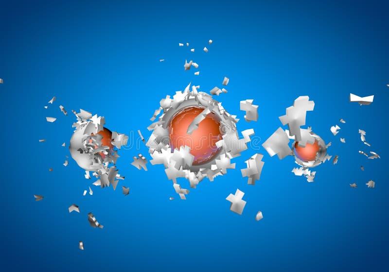 shpaes 3d abstratos de explosão da esfera ilustração royalty free