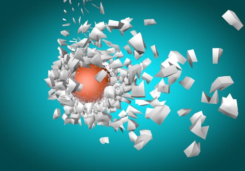 shpaes 3d abstratos de explosão da esfera ilustração stock